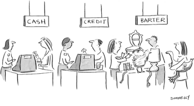 Cashless business models and the potential for modern barter
