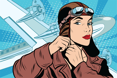 Cartoon drawing depicts eager Amelia Earhart strapping on her cap with her plane in the background.