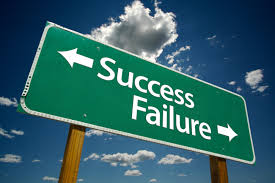a board showing the way to success and the way to failure