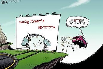 Cartoon showing a toyota car falling and crashing