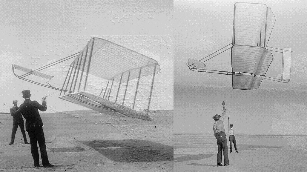 two pictures of wright gliders side by side