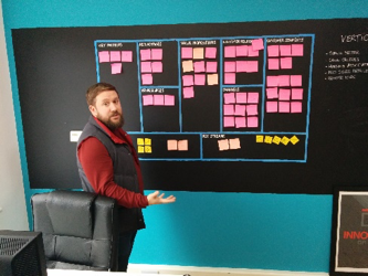 a men in front of a black board showing a business model canvas