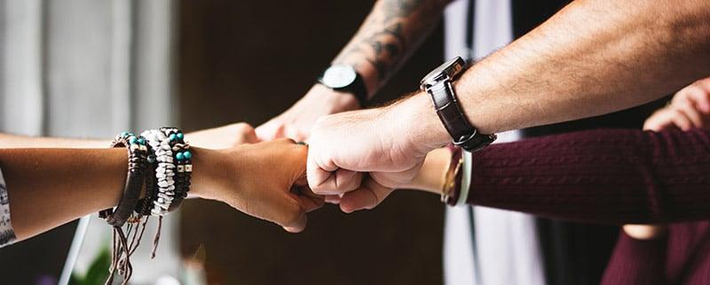 hands gathering together