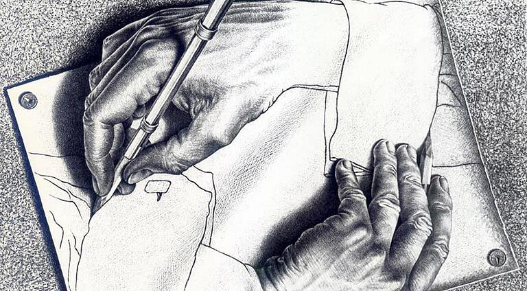 Drawing of two hands drawing each other
