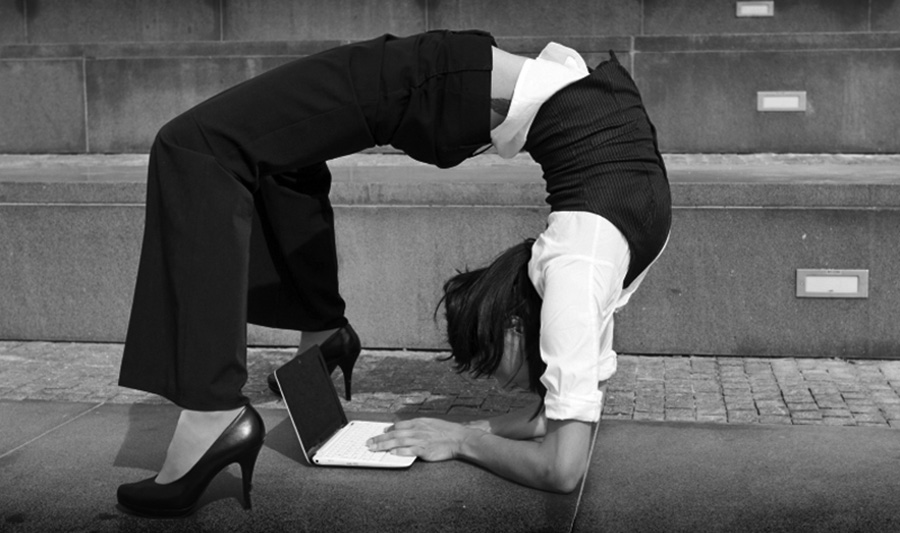 a working woman doing contortion
