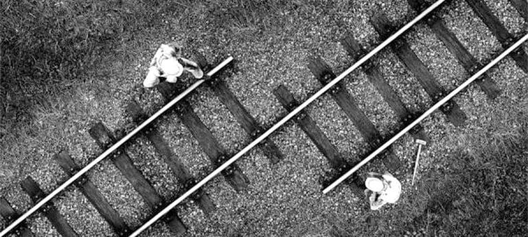 two rail tracks misaligned