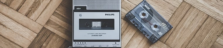 a cassette recorder on the ground