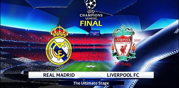 banner from the final game between real madrid and liverpool fc