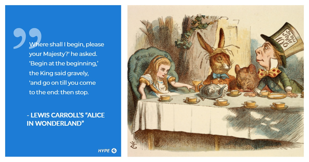 Lewis Carroll's Alice in Wonderland, three characters sitting for tea