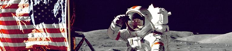 astronaut from apollo 13 exploring the moon