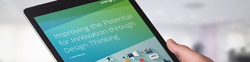 Tablet showing HYPE Design Thinking report