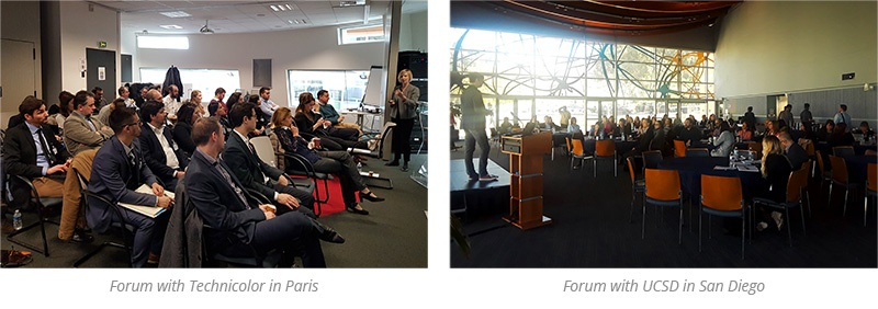 two pictures of the forums in Paris with Technicolor and with UCSD in San Diego