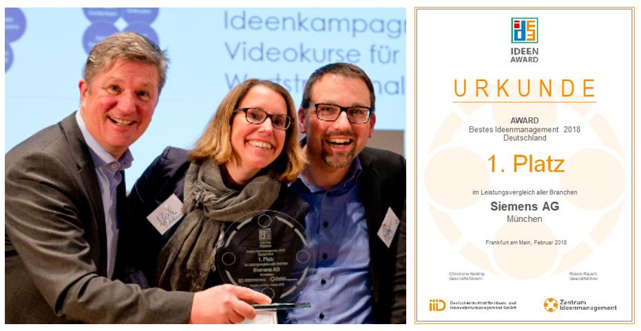 Siemens receives award for idea management